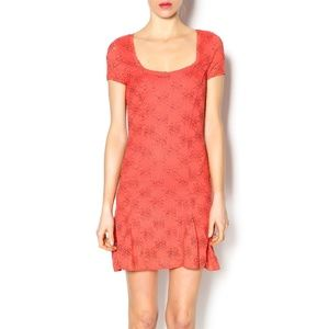 Free People Coral Daisy Flare Mini Dress M